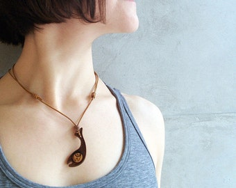 The Fish Pendant - Wooden Necklace - Laser Cut Pendant - Wood jewelry