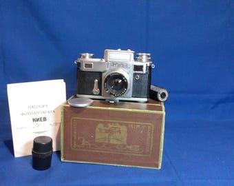Kiev-3A. Rare 1959 .Vintage Soviet Camera With Original Case Box Passport and  cassette. Lens Jupiter-8