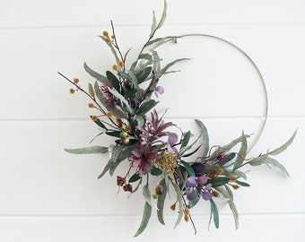 Modern Fall LARGE LUX olive branches & eucalyptus wreath|hoop wreath|Fall wreath|berry wreath|modern fall wreath|Fall decor|autumn wreath|