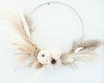 Modern Fall pumpkin & dried pampas wreath|pampas grass wreath|pumpkin wreath|thanksgiving wreath|dried foliage wreath|minimalist boho