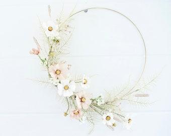 Modern boho cosmos & dried plumes wreath|hoop wreath|pampas grass wreath|dried plume wreath|summer wreath|fall wreath|cosmos wreath|nursery