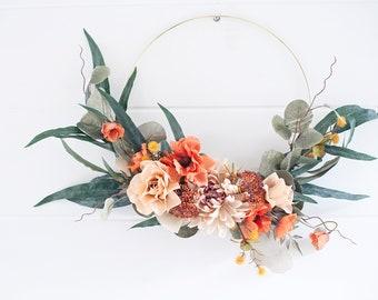 Modern Harvest Poppy & Mum wreath |hoop wreath|front door wreath| poppy wreath|mum wreath|modern hoop wreath|fall wreath|magnolia wreath