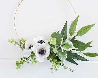 Modern mini anemone wreath|hoop wreath|Modern wreath|anemone wreath| greens wreath|modern farmhouse|nursery wreath
