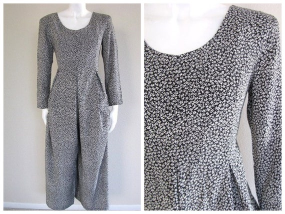 Vintage 80s DITSY Floral B&W One Piece Scoop Jumpe