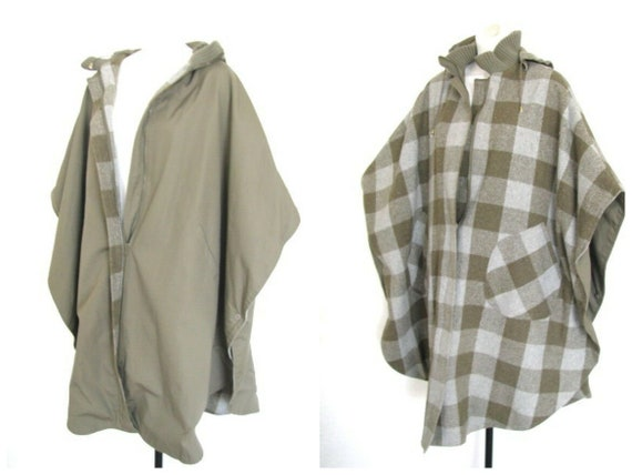 Vintage 70s MOD Reversible Taupe Zip BUFFALO CHECK