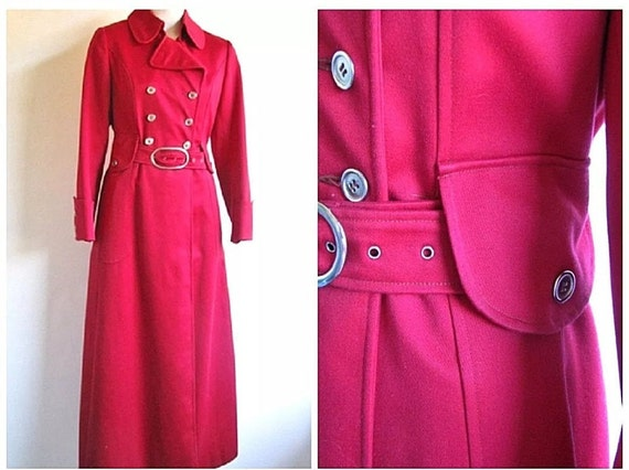 Vintage Womens 60's Red Military Double Breasted S