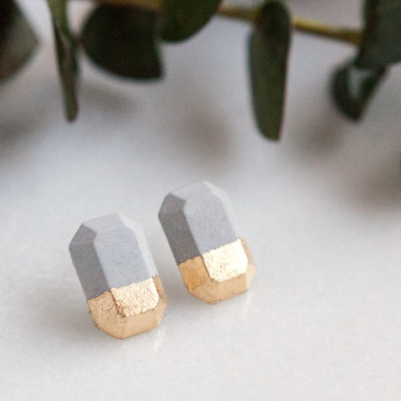 4eb6501cabf40 Concrete Polygon Earrings with Gold Leaf (light)