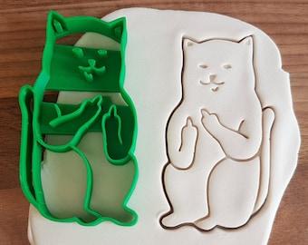 Middlefinger Cat Cookie Cutter / Rude Cat Cutter / Naughty Cat / Fondant Cutter