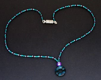 Teal, Purple, and Black Seed Beaded Necklace with Ring Pendant and Magnetic Clasp