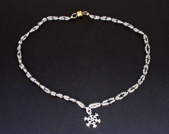 Twisted Silver and Navy Seed Beaded Necklace with Snowflake Pendant and Magnetic Clasp