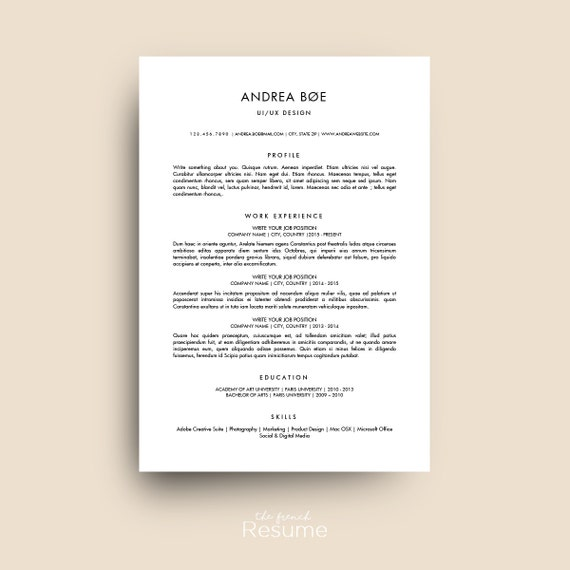 Resume Template Curiculum Vitae Free Cover Letter References For Ms Word Modern Simple And Design Cv Teacher Model 04 Andrea