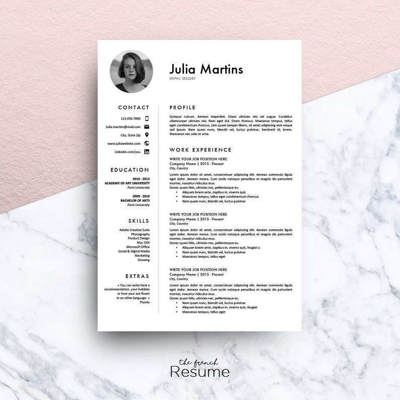 Resume Template with Photo (CV, Cover Letter & References) for MS Word    Professional, Creative and Design CV   Engineer   Model 01 : Julia