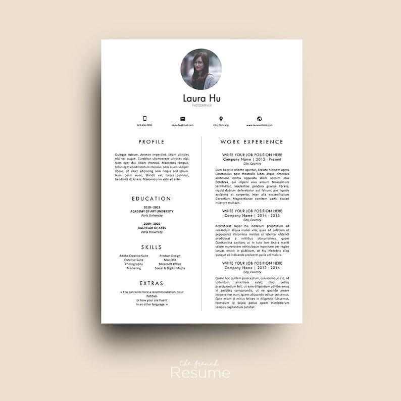Riprendere Il Modello Con Foto 3 Pagine CV Cover Letter Etsy