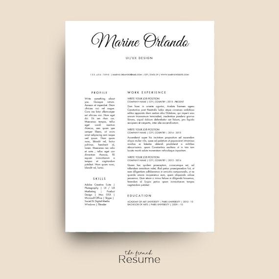 Simple Resume Template Cv Design Cover Letter Ref For Word Modern Seller Nurse Waiter Engineer Cashier Model 12 Marine