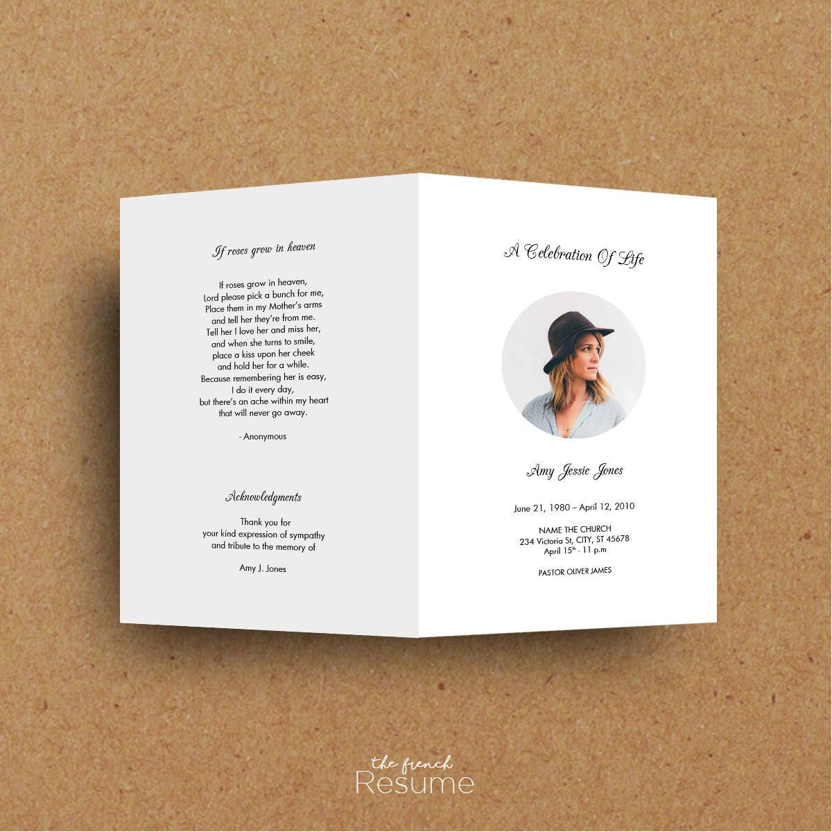 Funeral Program Template - MS Word - Printable - Instant Download - PROMO