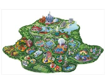 Disney world map | Etsy