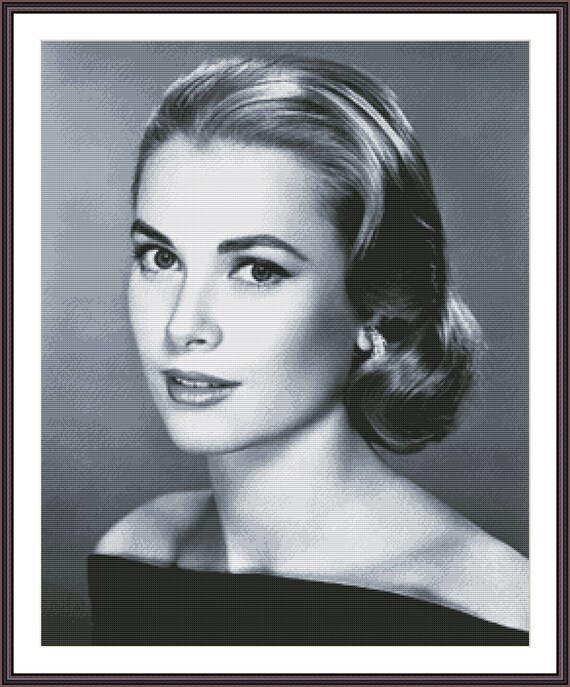 Grace Kelly Counted Cross Stitch Pattern Black And White Etsy