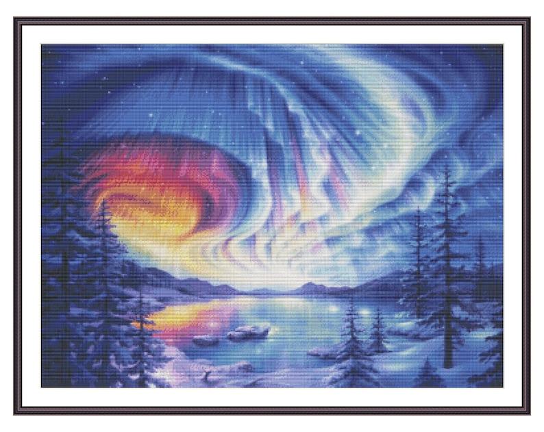 Aurora Borealis Cross Stitch Chart  Counted Cross Stitch image 0