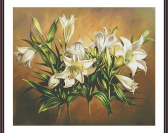 Cross Stitch White Lilies | Counted Cross Stitch Pattern | Floral Cross Stitch | Large Cross Stitch Chart | Printable PDF Instant Download