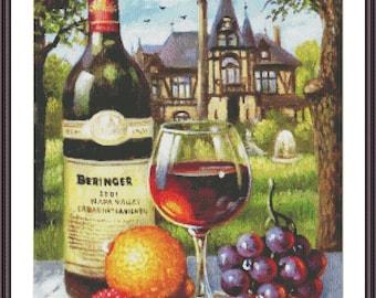 Still Life Cross Stitch Pattern | Counted Cross Stitch Chart | Kitchen Cross Stitch Design | Large Cross Stitch Chart | Fruits and Wine