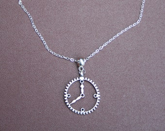 """Silver plated clock necklace with 8.5"""" chain."""