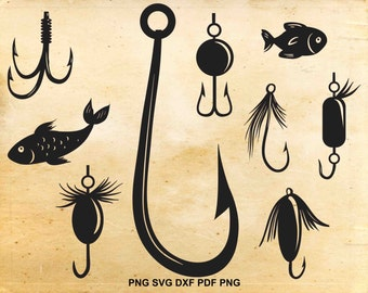 Fishing hook svg | Etsy
