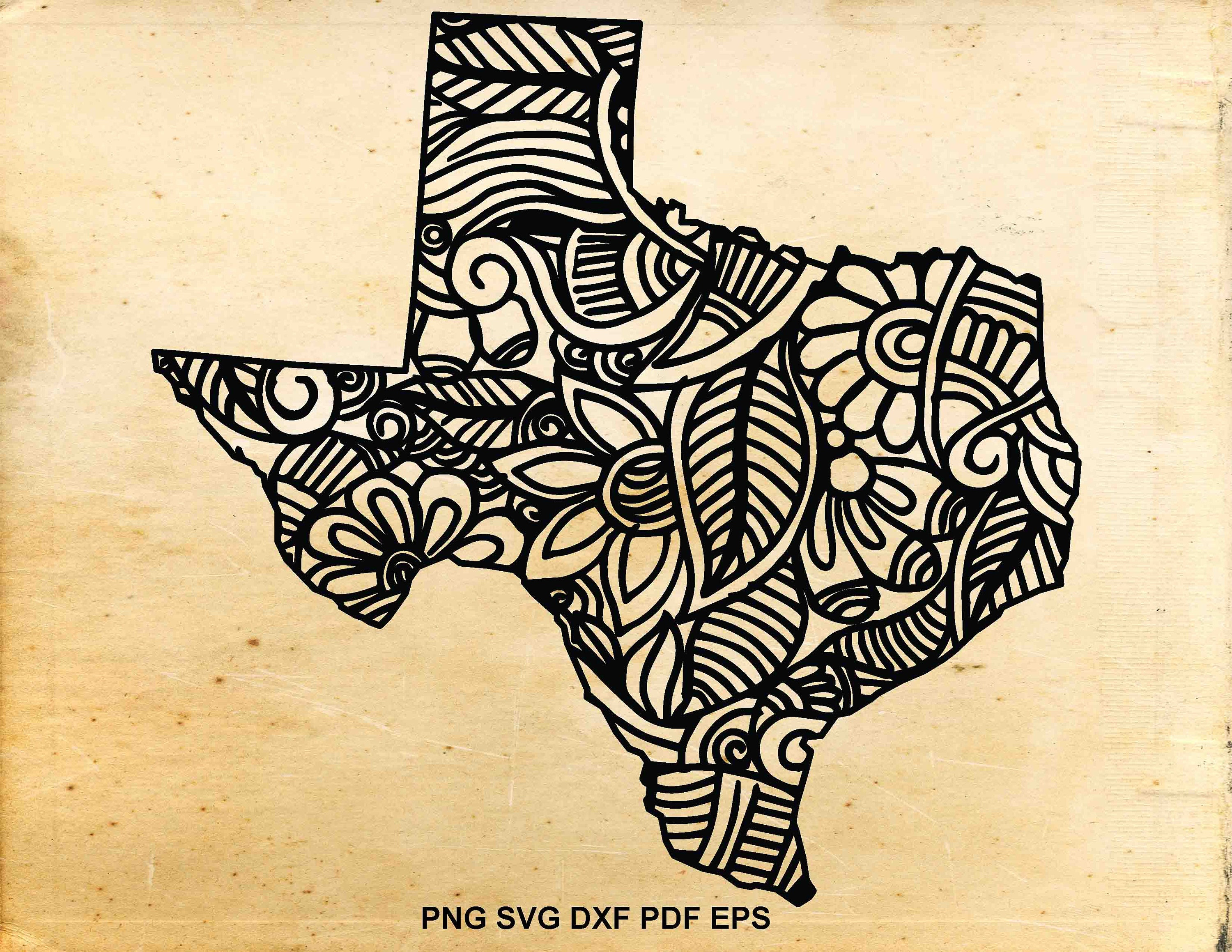 Texas state svg, Zentangle svg, Iron on designs, Doodle art, Decal design,  Cut files for Cricut, Files for Silhouette Cameo, Print design