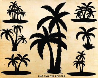 Palm tree svg, Palm tree clip art, Tropical, Svg files for Silhouette Cameo, Cut files for Cricut, png pdf eps svg dxf