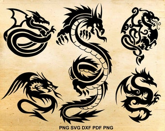Dragon svg, Dragon clip art, Dragon Silhouette, Cut files for Cricut silhouette, Instant download svg pdf eps dxf png