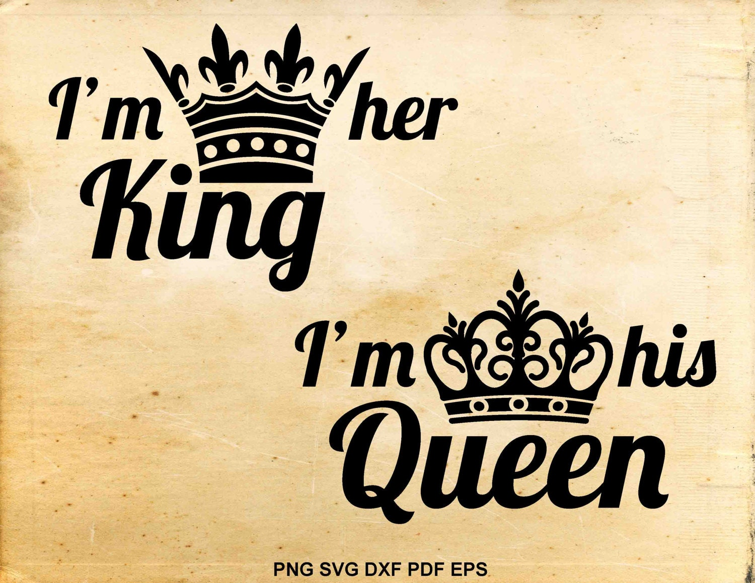 King and Queen svg files Wedding svg His hers vector Svg
