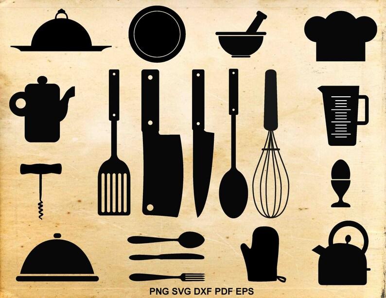 Cocina Svg Archivos Utensilios De Cocina Cocina Clipart Etsy