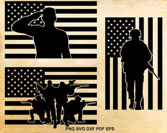 American flag svg, Fallen soldier, 4th of july clipart, Memorial svg,  Iron on designs, Military svg, Files for Cricut, Files for Silhouette
