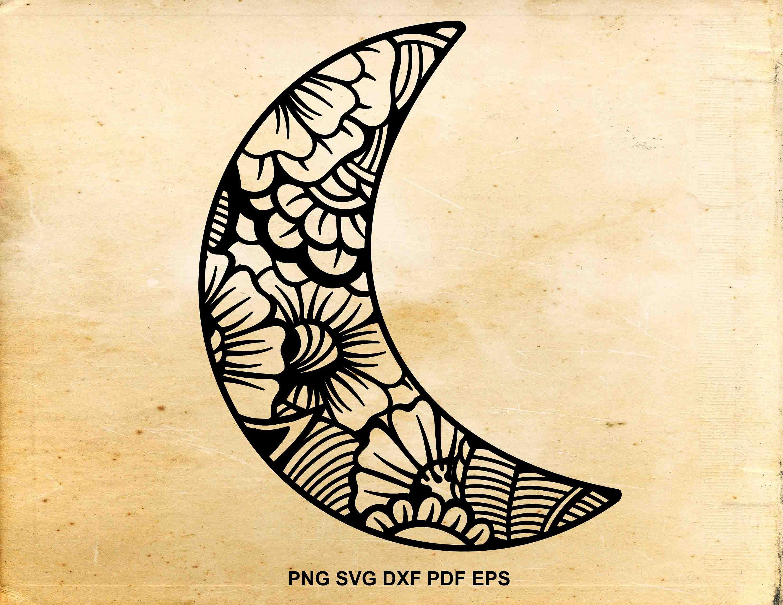 Moon svg file Zentangle moon clipart Iron on Moon doodle | Etsy