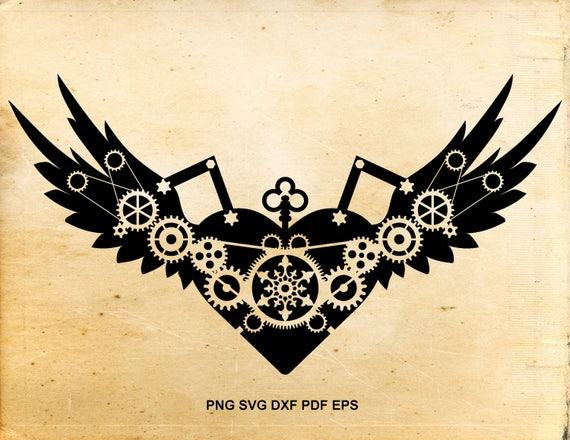 Steampunk svg files clipart, Heart svg design, Wings svg file, Cut files for Silhouette Cameo, Files for Cricut, Cuttable file