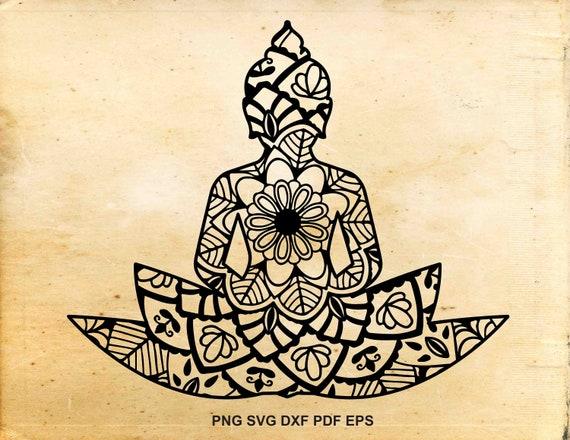 Namaste Svg Lotus Flower Zentangle Buddha Yoga Mandala