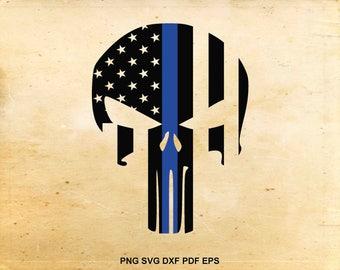 Police punisher skull svg, Thin blue line flag, American flag svg, Police flag design, Svg files for Cricut, Cut files for Silhouette