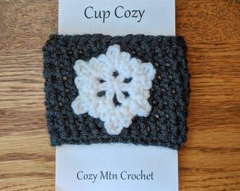 Crochet Coffee Sleeve, Snowflake, Cup Cozy, Reusable Coffee Cozy, Coffee Sleeve, Crochet Cozy, Tea Cozy, Reusable Sleeve, Drink Sleeve Cozy