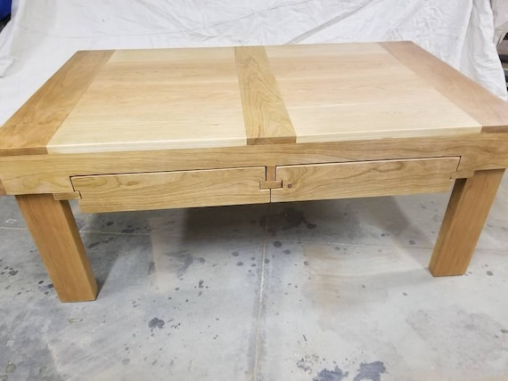 Cherry Coffee Table W Slide Out Drawers Etsy
