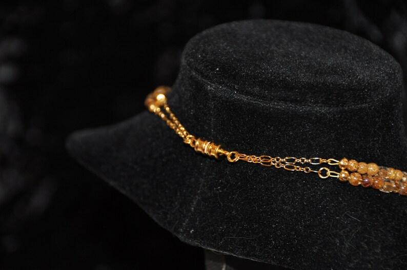 17-19 2 Strand Rutilated Golden Quartz Necklace
