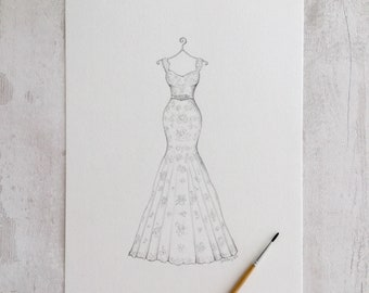 517d62c3c0 Custom wedding dress sketch drawing art painting