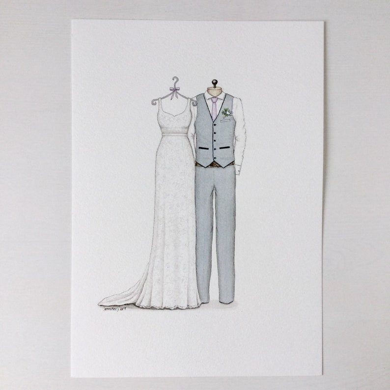 CUSTOM Wedding dress and suit sketch illustration drawing painting portrait