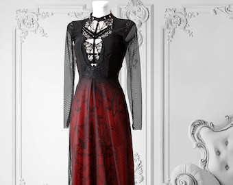Gothic medieval red black dress made to order