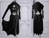 slashed dress Morticia Addams black gothic