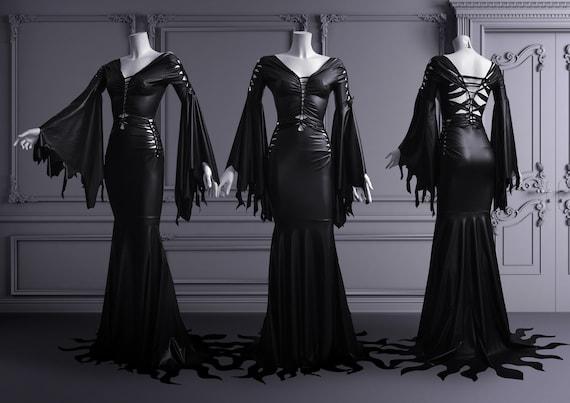 vivido e di grande stile Regno Unito diversificato nella confezione barrato vestito lattice gotico Morticia Addams nero effetto bagnato