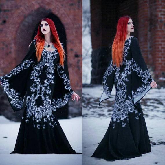 Long Coude Longueur Dentelle Halloween Morticia costume de sorcière Gants robe fantaisie noir