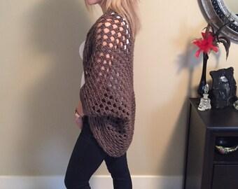 Handmade Ladies Womens Crochet Cocoon Spring Sweater Cardigan Shrug Brown Neutral Stylish