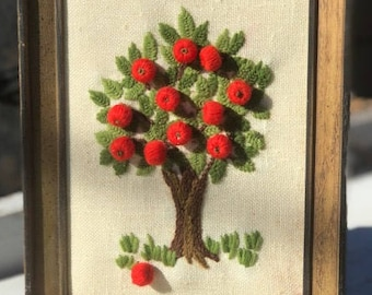 Vintage Three Dimensional Embroidered Apple Tree Picture