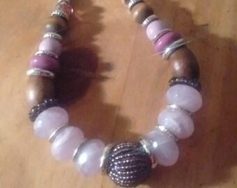 Cork/Wood/Plastic/Semi-Precious Stone Bead Necklace:
