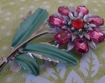 Pink Flower Pin- Brooch: