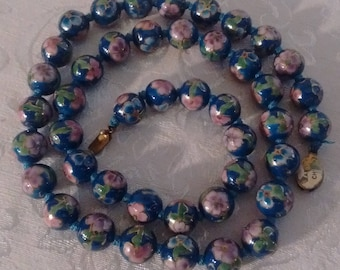 Vintage Chinese Cloisonne Teal Blue Beaded necklace:  Price Reduced  4/4